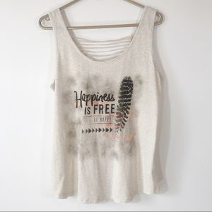 Happiness is Free Graphic Tank, Back Cut Out, L